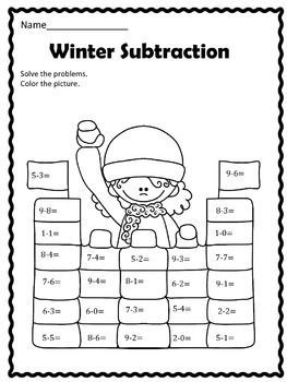 free winter subtraction kindergarten everyday math math classroom math subtraction. Black Bedroom Furniture Sets. Home Design Ideas