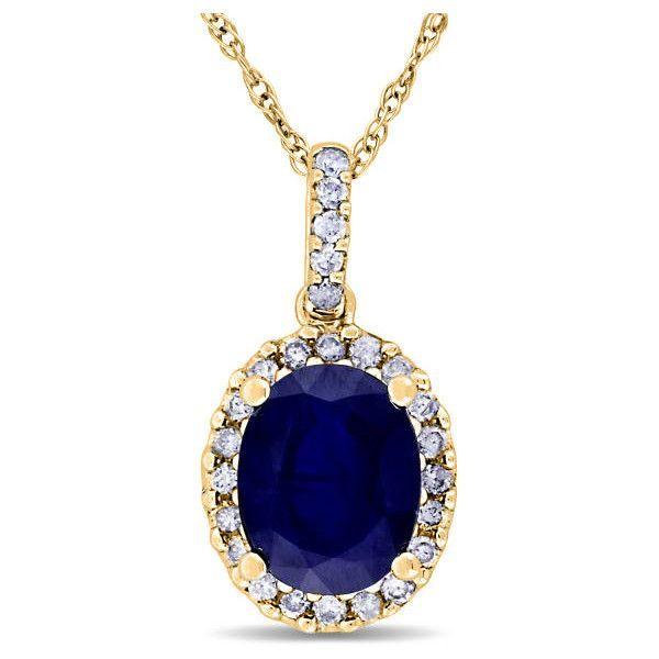 Allurez 14kt Yellow Gold Blue Sapphire & Halo Diamond Pendant Necklace 3Hy5DLtZu
