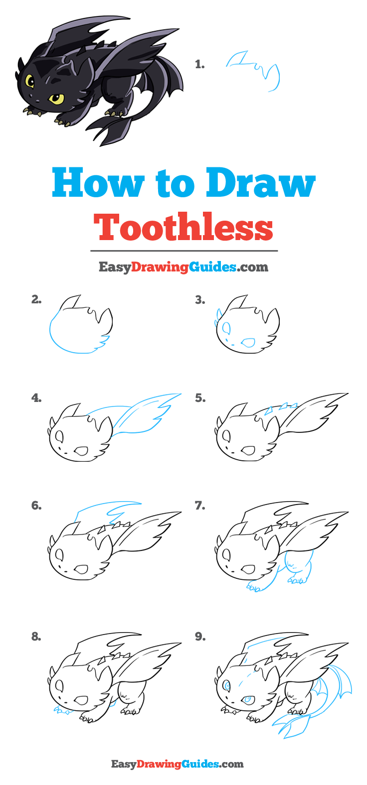 How to Draw Toothless from How to Train your Dragon - Really Easy Drawing Tutorial#dragon #draw #drawing #easy #really #toothless #train #tutorial