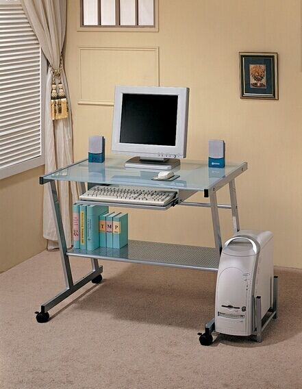 computer workstation desk with slide out keyboard tray with casters rh pinterest com
