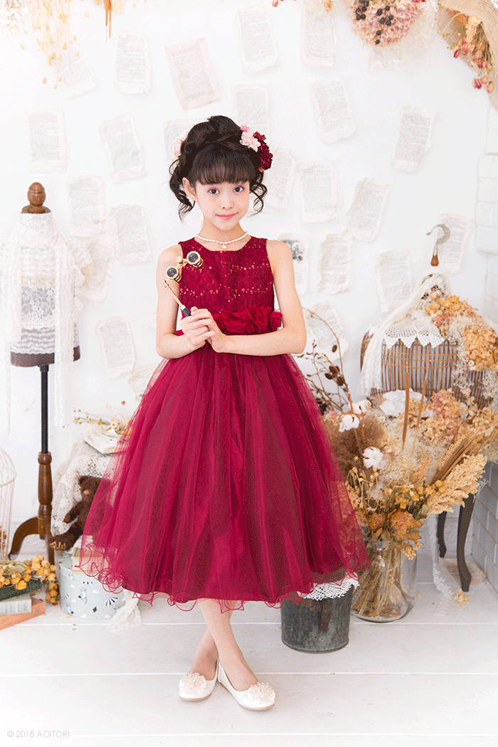 4e8acf98620be 子供ドレス ピアノの発表会ドレス 13-340F(140 )バーガンディー 青い ...