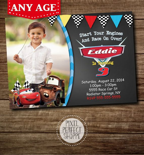 Cars Birthday Invitation Disneys Cars Lightning McQueen Sally – Disney Cars Birthday Invites