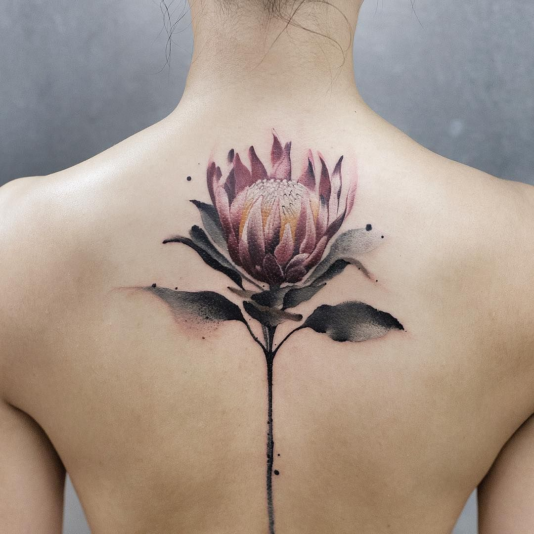 Protea Tattoos Tattooed Tattooistartmag Thebesttattooartists Watercolortattoo Tattooartmagazine Art Beiji Colour Tattoo For Women Cool Tattoos Tattoos