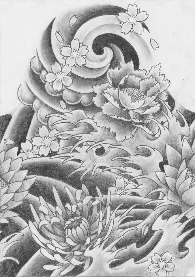 Japanese Water Flowers Clouds Japanese Background Tattoos