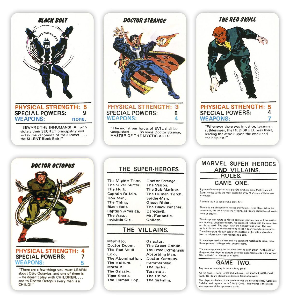 Marvel Superheroes Top Trumps Card Game With