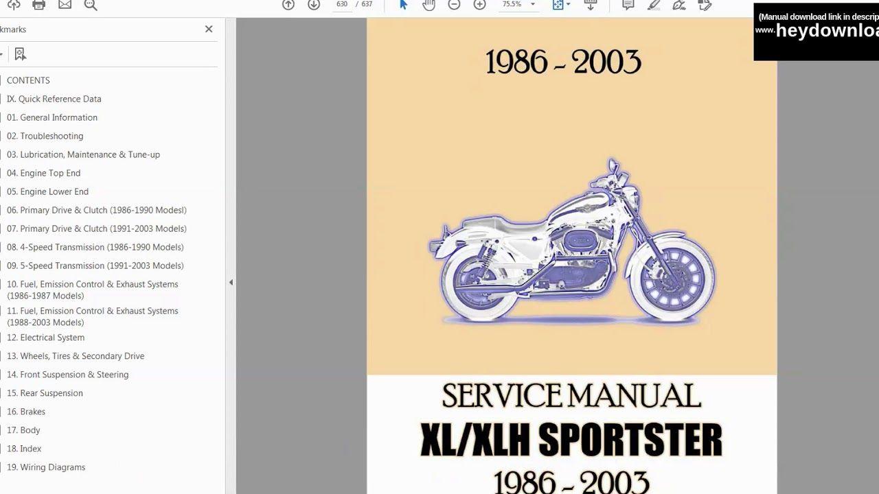 1986 2007 Harley Davidson Sportster Workshop Service Repair Manual Pdf Harley Davidson Sportster Repair Manuals Harley Davidson