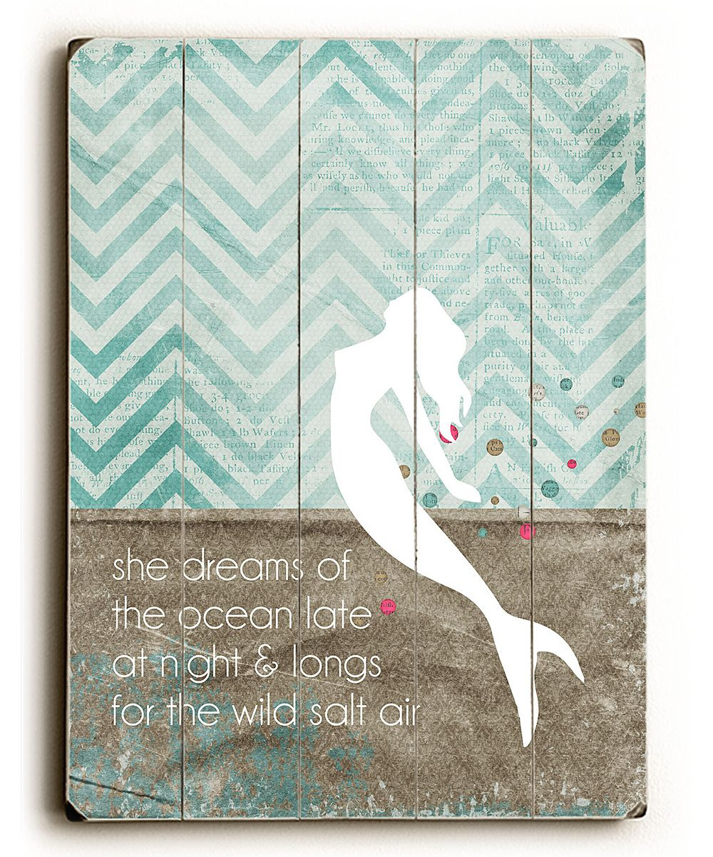Mermaid Wood Wall Art artehouse 'she dreams' mermaid wall art | bathroom art, little