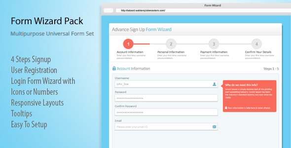 Features: 4 Steps Signup User Registration Login Form Wizard with ...