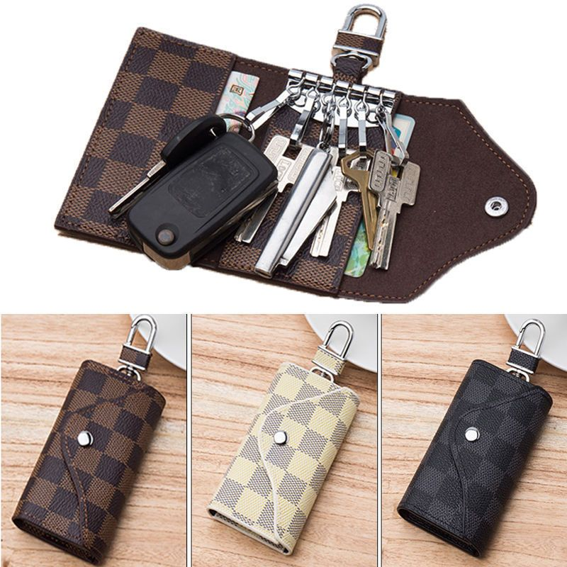 ff69a63daaf9 Genuine Leather Car Key Chain Card Holder Wallet Case Key Organizer Bag  Unisex