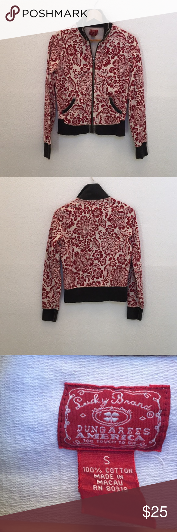Lucky brand floral hoodie This hoodie is in great condition Lucky Brand Tops Sweatshirts & Hoodies