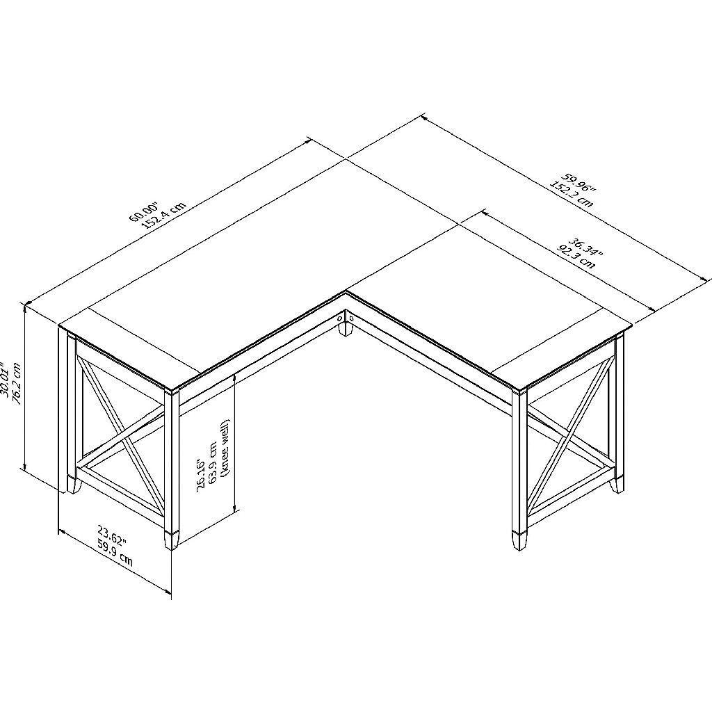 Bush Furniture Key West 60w L Shaped Desk In Pure White Oak Kwd160wt 03 In 2020 L Shaped Desk Bush Furniture Modern Shelving