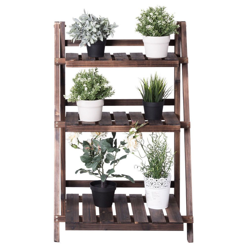 It Is Exactly The Right Combination For Your Garden Pot What S More This 3 Tier Flower Rack Not Only Is A Flow Wooden Plant Stands Wooden Flowers Plant Stand