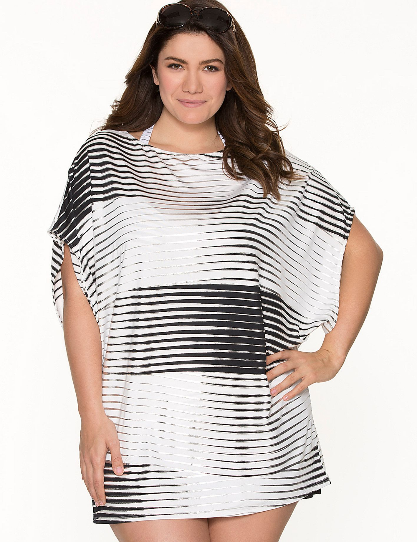 1c04778669 Full Figure Metallic Stripe Swim Cover-up by Cacique