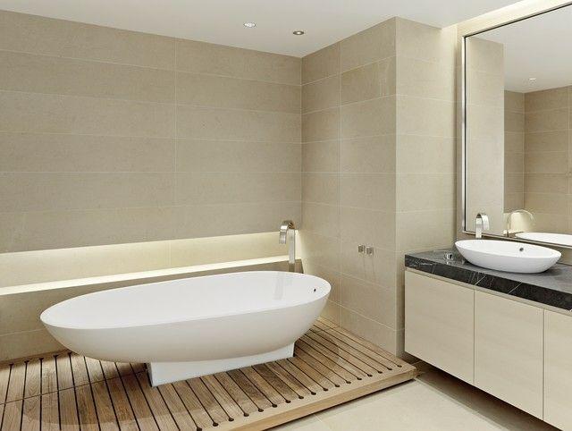 Badezimmer Holz Boden Freistehende Badewanne Badmöbel