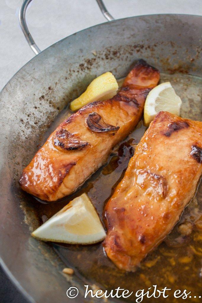 heute gibt es... Honig-Knoblauch-Lachs #vegetariangrilling