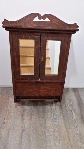 Meuble Armoire Pharmacie Avec Miroir En Bois Antique Art Objets A