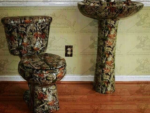 Anyone Need A Camo Bathroom Set Lol Camo Home Decor Camo Bathroom Rustic Master Bathroom