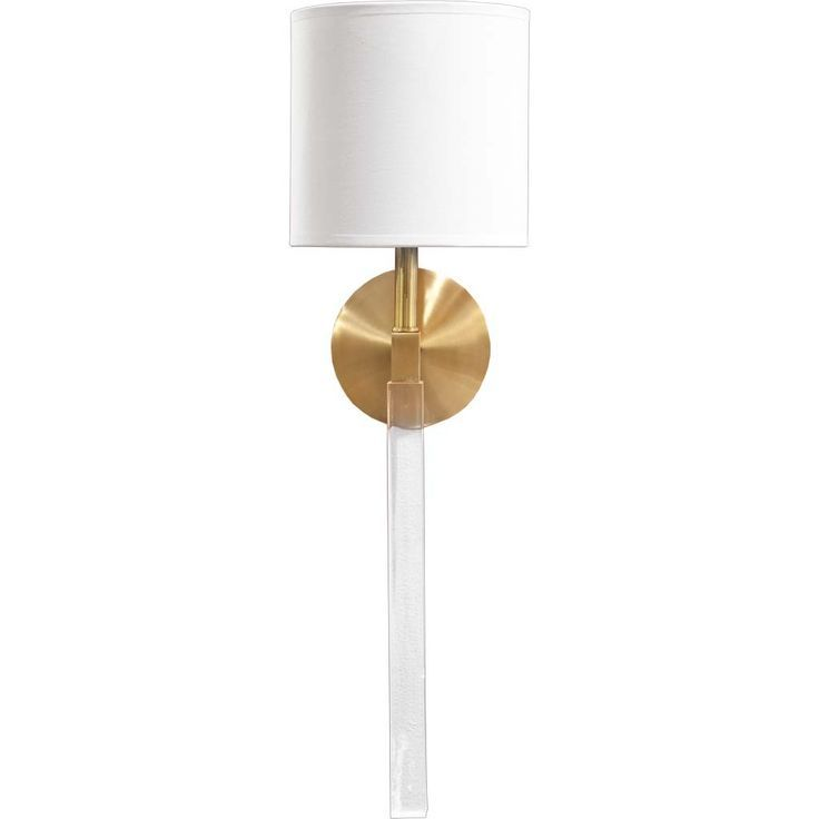 Polished Gold Wall Sconce With Clear Acrylic Base And Round White Shade.  $124.88