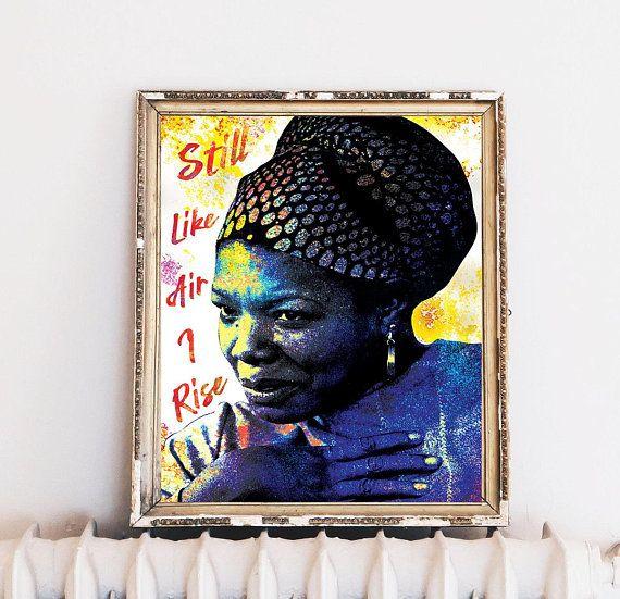 maya angelou 8x10 still i rise feminist art poetry wall decor rh co pinterest com