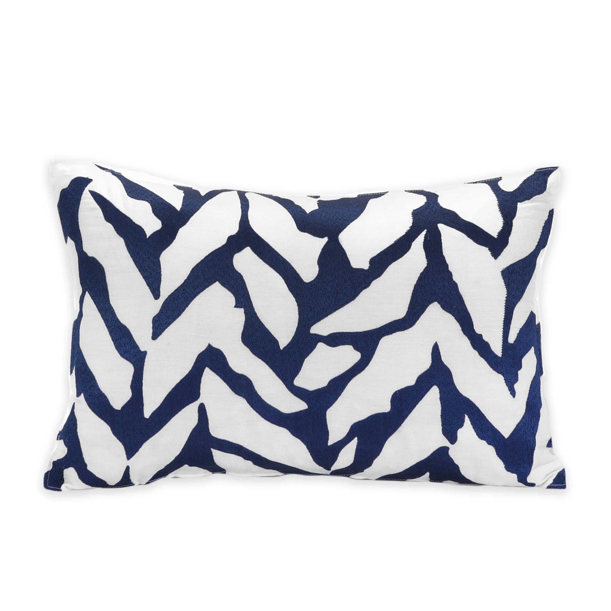 trina turk silver lake organic herringbone oblong throw pillow in blue white oreillers blancs