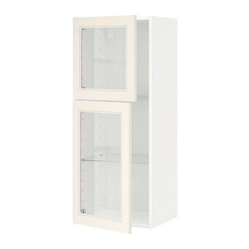 ikea metod wall cabinet w shelves 2 glass drs white hittarp off rh pinterest co uk