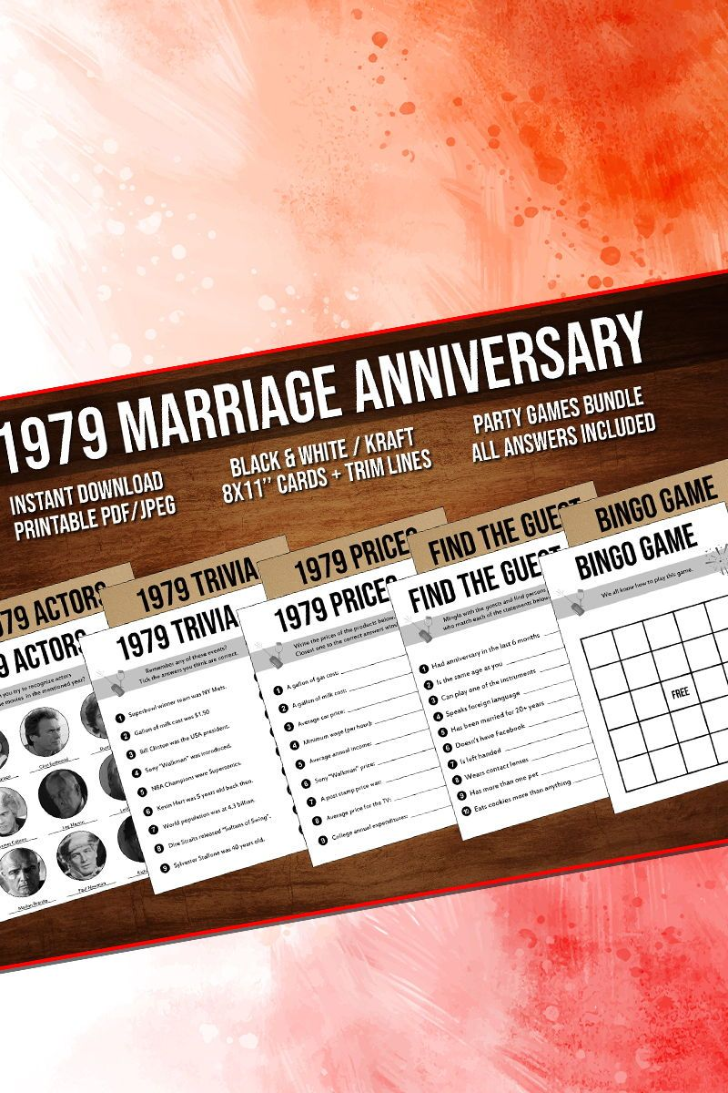 40th Anniversary Party Games Bundle Married In 1979 40th Etsy In 2020 Anniversary Party Games 60th Anniversary Parties 40th Anniversary Party