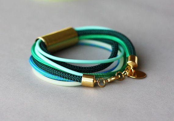 Mint Green Bracelet Emerald Green Blue Wrap by feltlikepaper