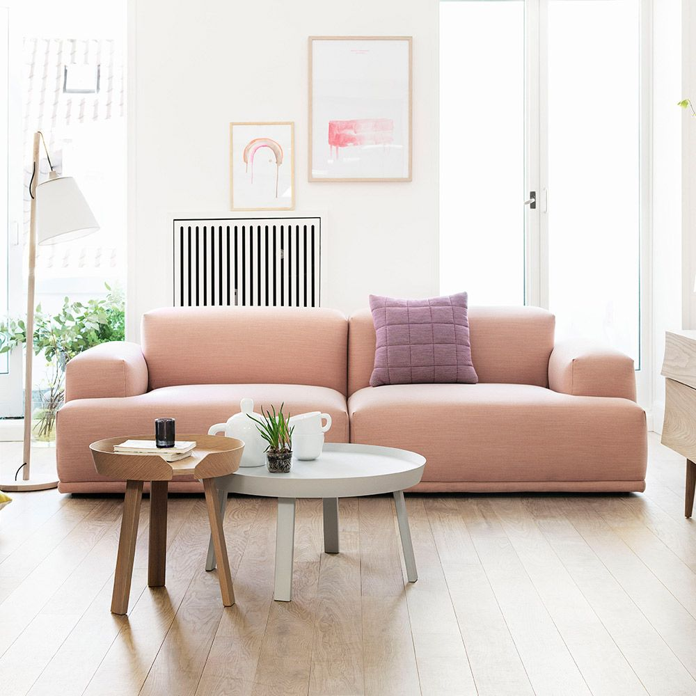 love this blush pink sofa so pretty