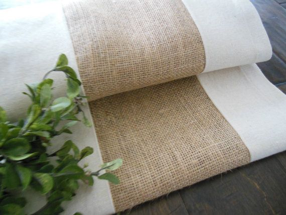 Burlap Rustic Farmhouse Table Runner / Coastal by TheRusticTwigUS