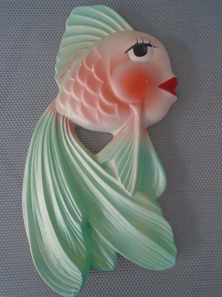 Vintage 1964 Miller Studio Chalkware 8 Tall Fish Big Red Lips