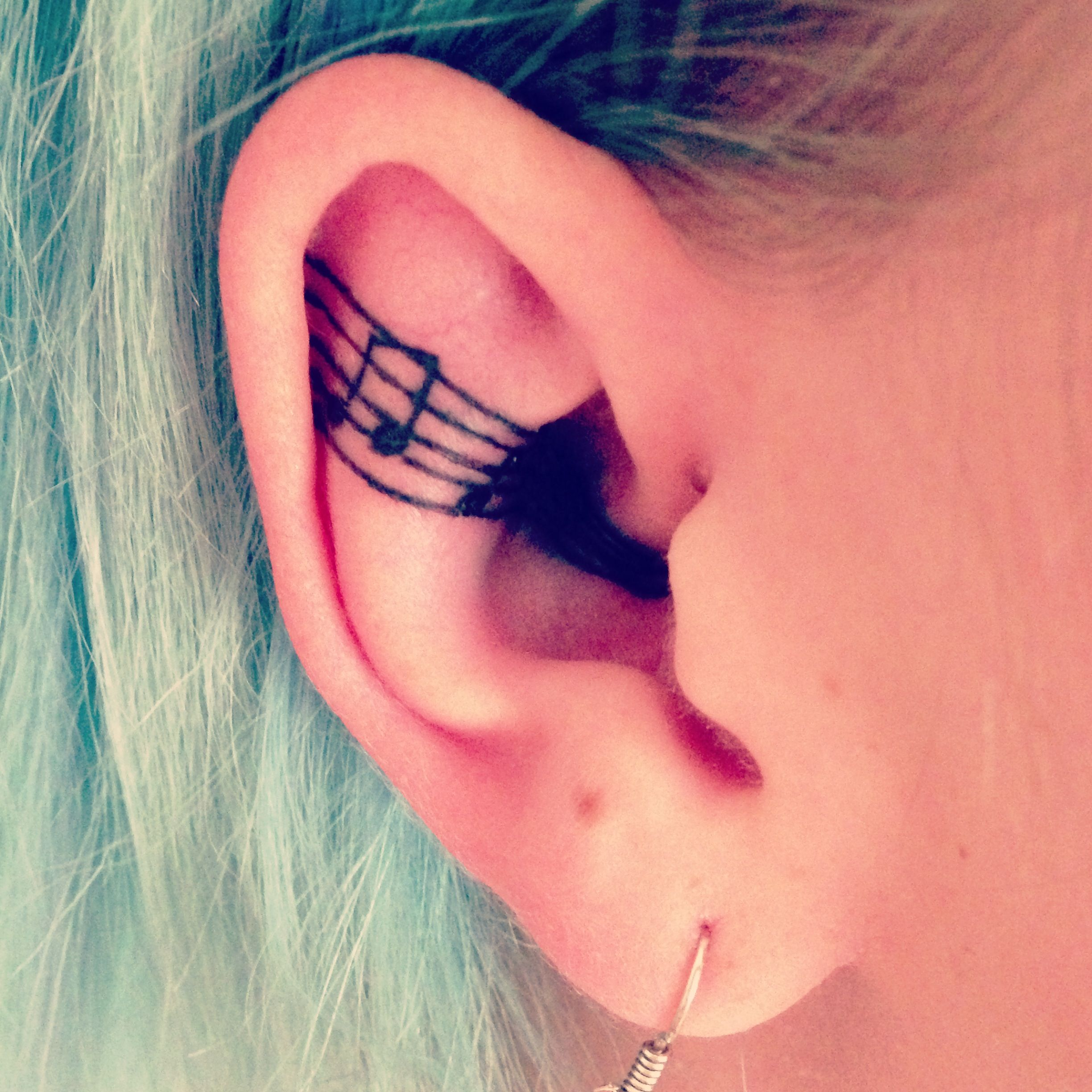 Music Notes Behind The Ear Tattoo Behind The Ear Ear border=