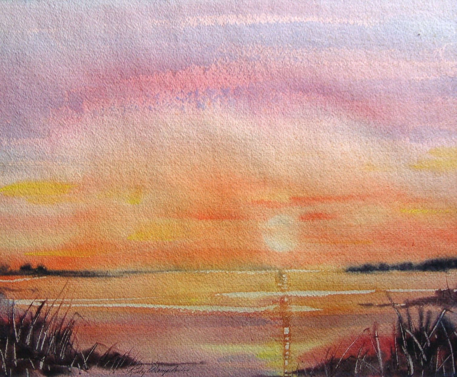 Pink Sunset Watercolor In 2020 Watercolor Sunset Pink Sunset