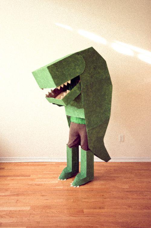 Cardboard dinosaur costume halloween pinterest for Cardboard halloween decorations diy