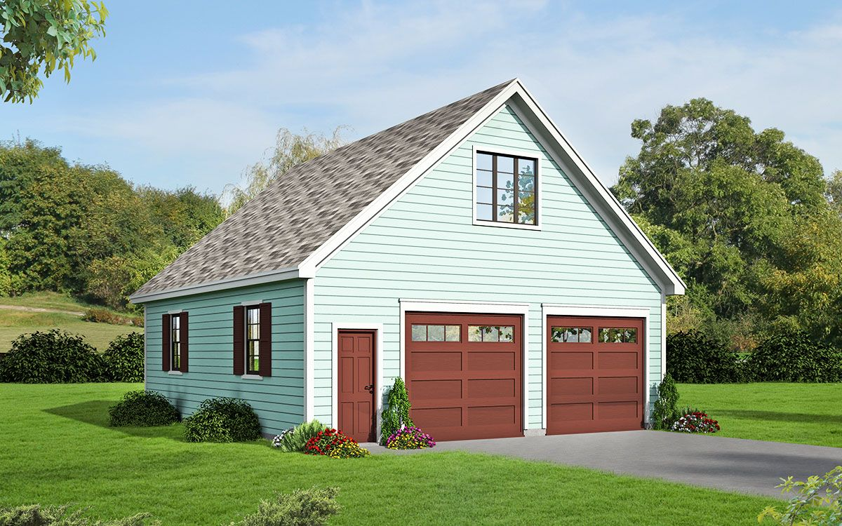 Plan 68456vr 2 car detached garage with man cave above for How much to build a two car garage with loft