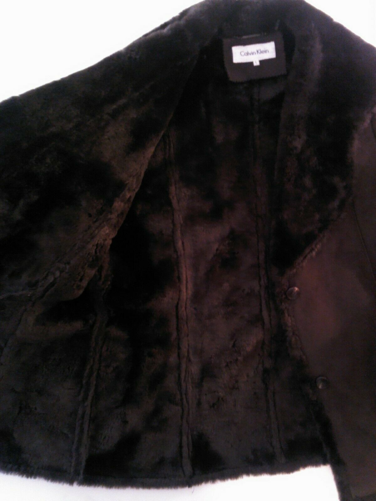 Calvin Klein Jacket Faux Fur Suede Brown Coat 12 Brown