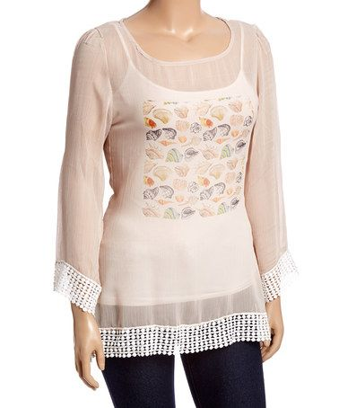 Look what I found on #zulily! Beige Sheer Crochet Seashell Scoop Neck Top - Plus #zulilyfinds