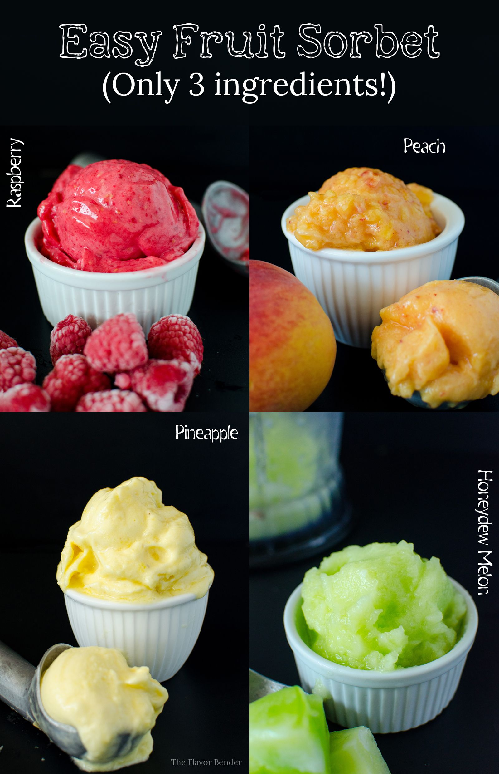 Easy Fruit Sorbet - Make sorbet with almost any kind of fruit any time you want! You only need 3 ingredients (not counting water)! Here are the tricks and tips to apply to your favourite fruits to make Sorbet! Raspberry Sorbet, Peach Sorbet, Honeydew Melon Sorbet, and Pineapple Sorbet! #melonrecipes