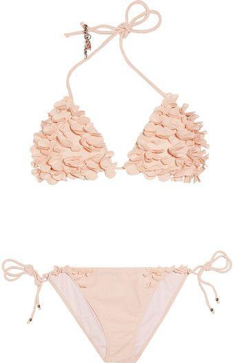 Miu Miu  Floralappliqué Triangle Bikini