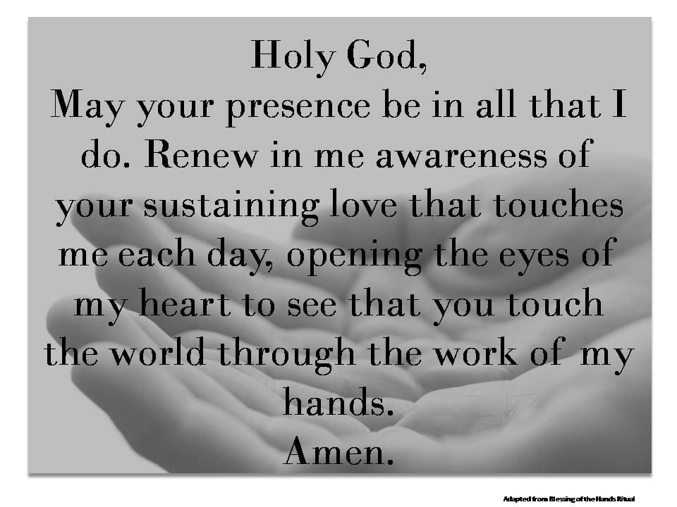 Caregiver hand blessing digital print catholic prayer for