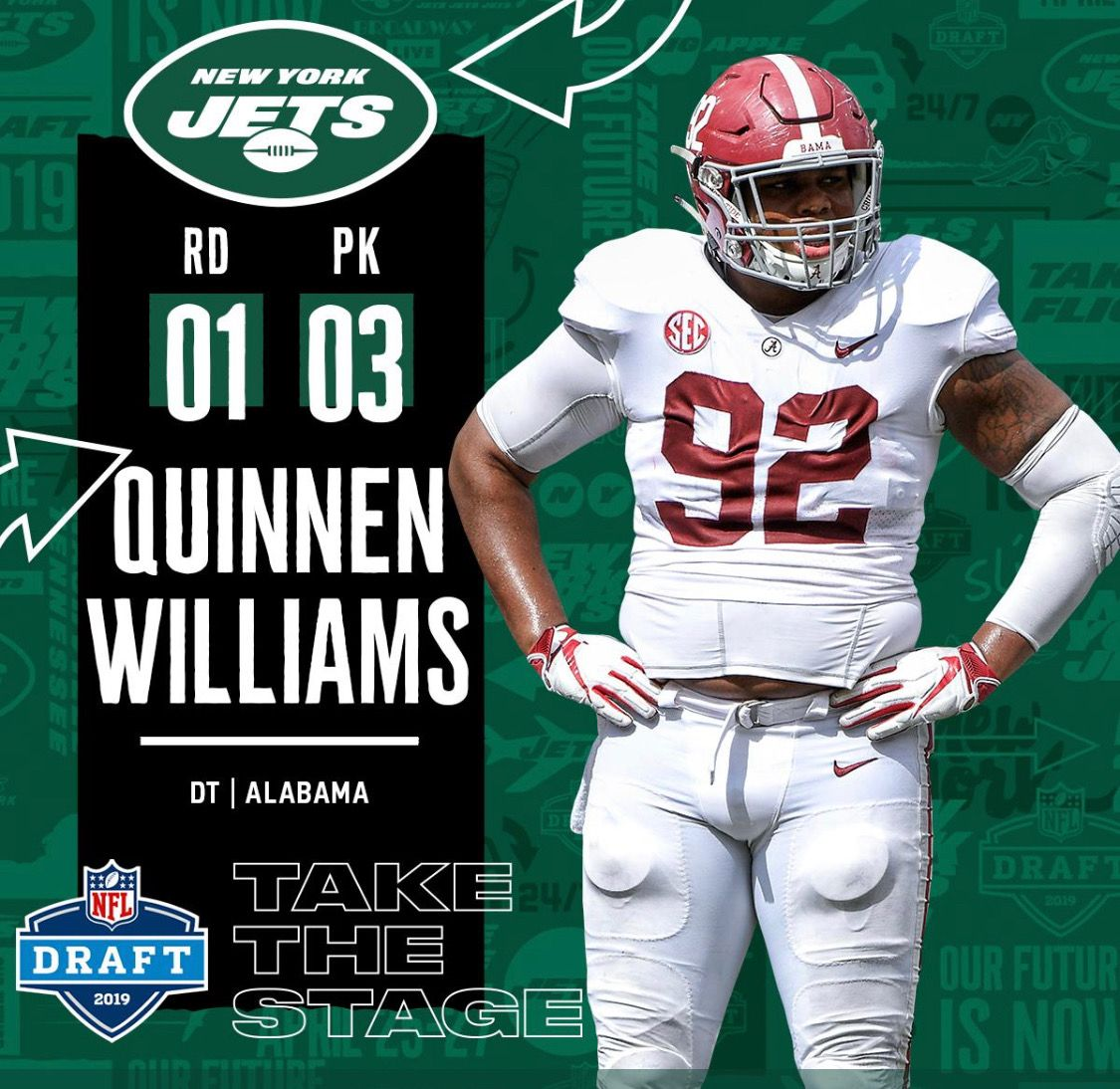 Quinnen Williams 3 Overall To The Jets 2019nfldraft Alabama