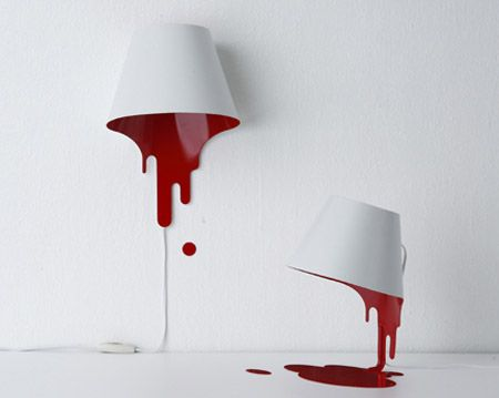 Red Paint Spill Lamp