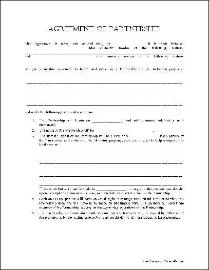 Printable Sample Partnership Agreement Template Form | Real Estate ...