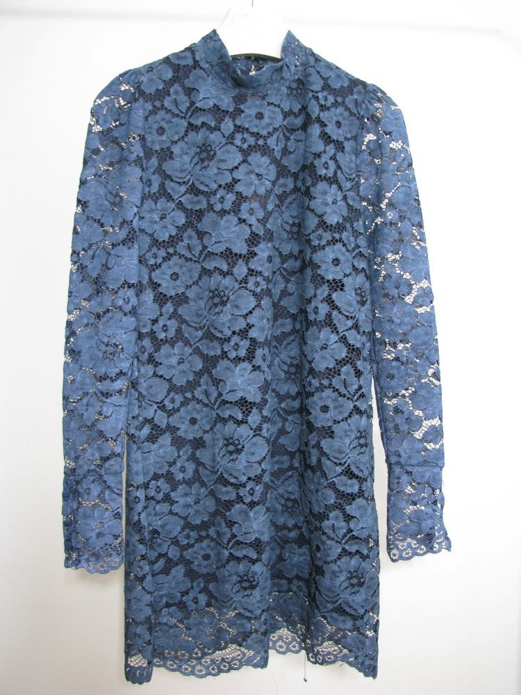be0b8cda NWT ZARA FADED LACE DRESS Dark Blue Tunic Size S Ref.2878/225 #ZARA  #WigglePencilTunicDress #Casual