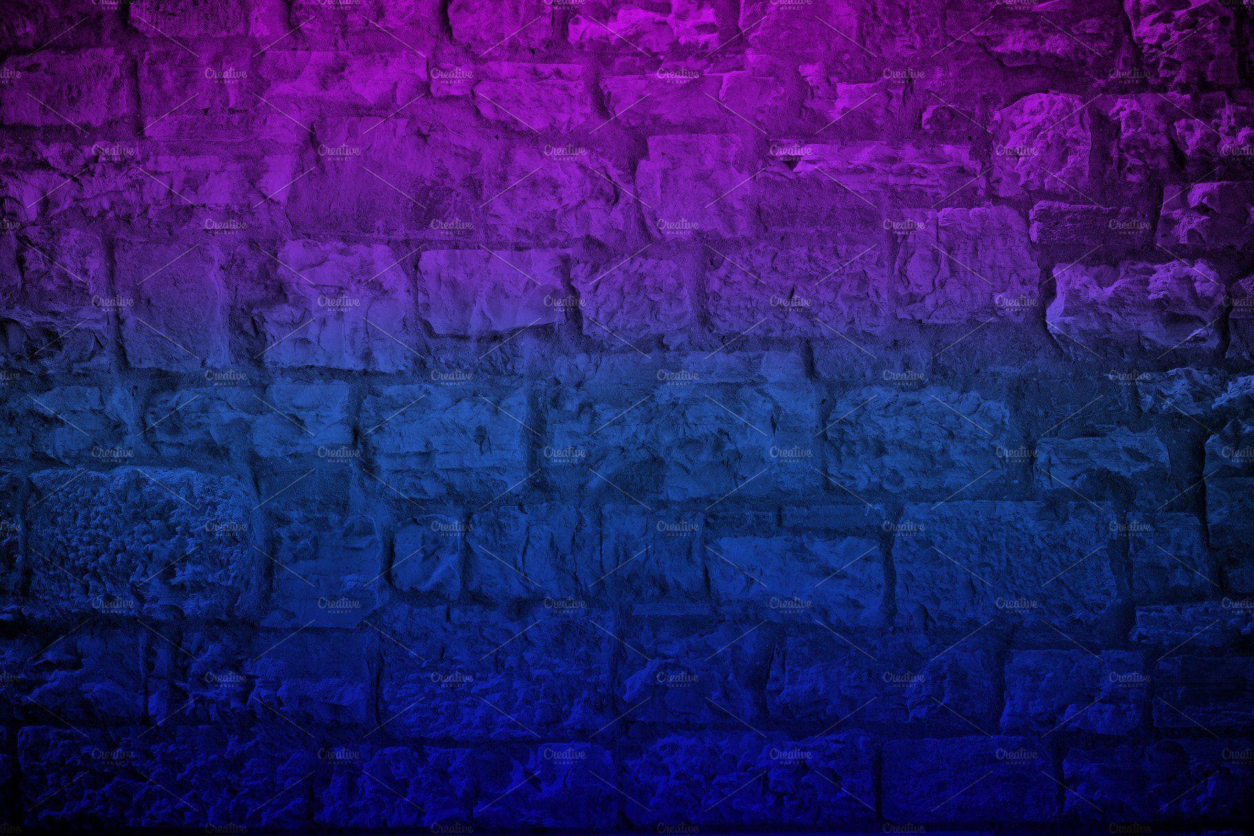Neon Colored Limestone Brick Wall Wallpaper Backgrounds Dark Brick Wall Dark Gradient Background