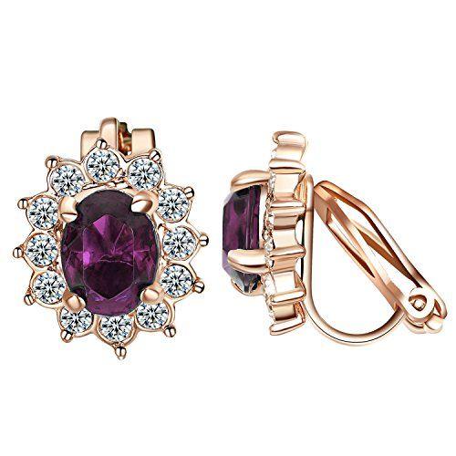 Yoursfs Clip On Earrings Purple Crystal Flower Cubic Zirconia Non Piercing Earrings Purple Clip Earrings