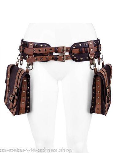 Restyle Gürtel Taschen Steampunk LARP Pirate Kunstleder Pocket Belt Gothic