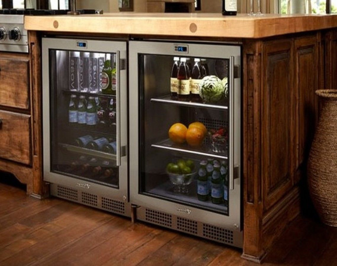Snazzy Glass Front Refrigerator Residential Idea Plus Natural Wood