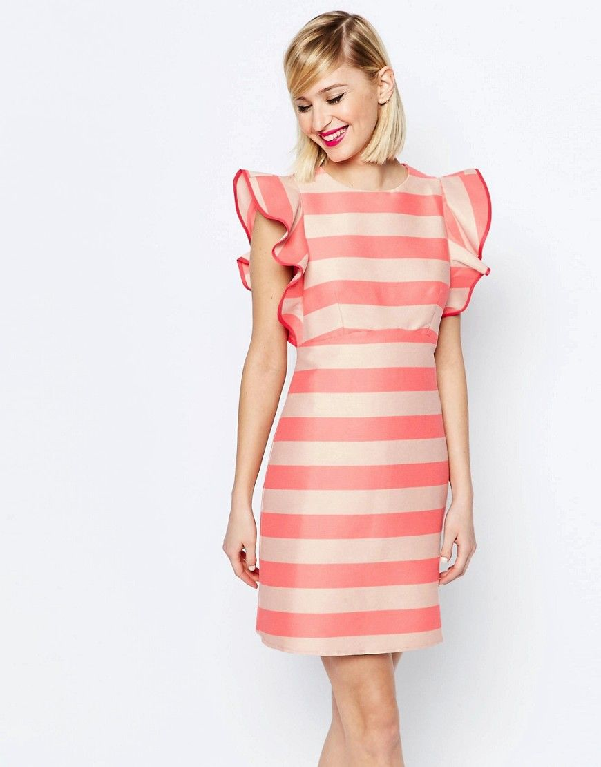 Image 1 of ASOS A Line Dress with Structured Frill Detail in Stripe ...