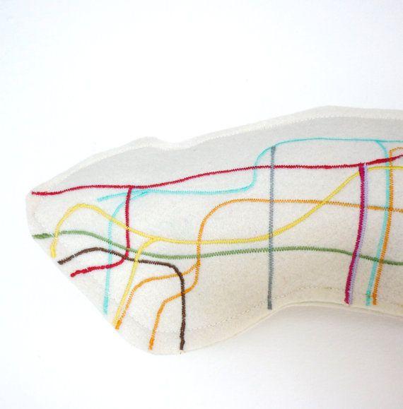 Metro Map Pillow. I [heart] NYC.