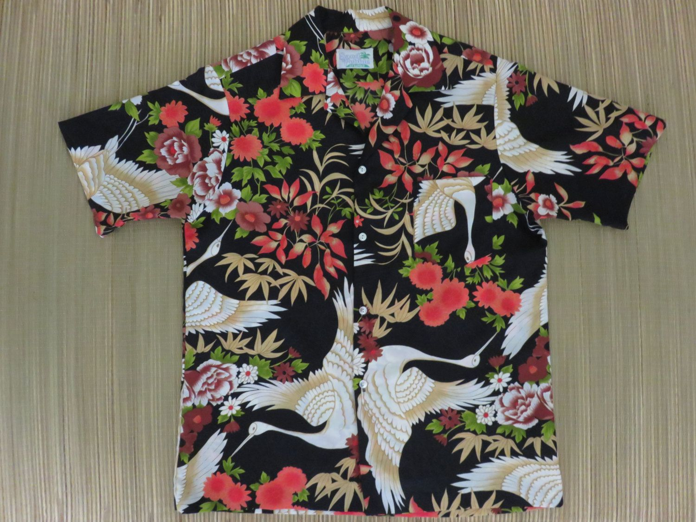 Vintage 80s HAWAIIAN Cotton Unisex Shirt Large Aloha Hawaii Surf Beach Naf Naf France Hawaii Surf Pattern Floral Shirt Buttondown Size L